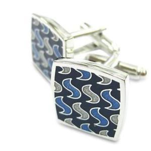 【送料無料】メンズアクセサリ― カフスリンクmodern swirls blue cufflinks