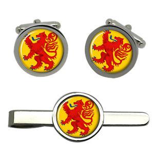 【送料無料】メンズアクセサリ― ライオンタイクリップセットrampant lion round cufflink and tie clip set