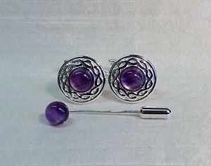 【送料無料】メンズアクセサリ― セルティックツイストタイピンamethyst cuffllinks with celtic twist patttern amp; cravattie pin, silver plated