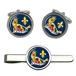 【送料無料】メンズアクセサリ― アンタントライオンラウンドタイクリップセットentente, the lion and the fleurdelis round cufflink and tie clip set