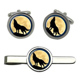 【送料無料】メンズアクセサリ― タイクリップセットhowling wolf round cufflink and tie clip set