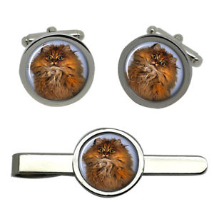 【送料無料】メンズアクセサリ― ペルシャタイクリップセットred persian cat round cufflink and tie clip set