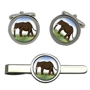 【送料無料】メンズアクセサリ― エレファントラウンドタイクリップセットelephant round cufflink and tie clip set