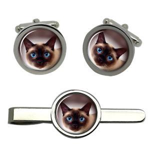 【送料無料】メンズアクセサリ― シャムタイクリップセットsiamese cat round cufflink and tie clip set
