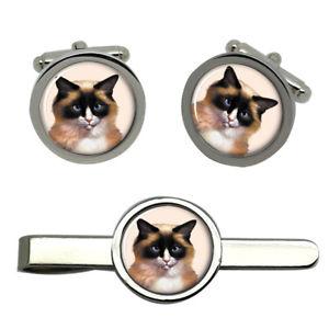 【送料無料】メンズアクセサリ― ラグドールタイクリップセットragdoll cat round cufflink and tie clip set