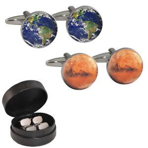 【送料無料】メンズアクセサリ― レザーケースカフリンクスplanet earth amp; mars cufflinks in leather case astronomy space nasa red lunar