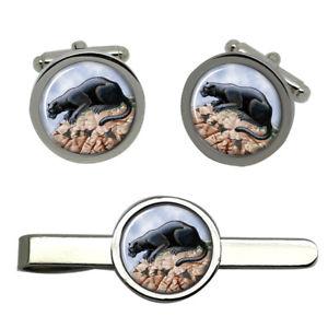 【送料無料】メンズアクセサリ― パンサーラウンドタイクリップセットpanther round cufflink and tie clip set