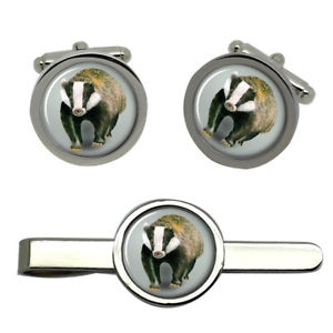 【送料無料】メンズアクセサリ― アナグマラウンドタイクリップセットbadger round cufflink and tie clip set
