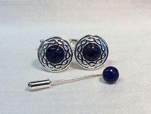 【送料無料】メンズアクセサリ― シルバーラピスラズリストーンカフスボタンタイピンマッチングcufflinks with lapis lazuli stone and matching cravattie pin, silver plated