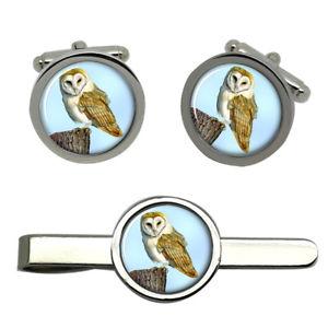 【送料無料】メンズアクセサリ― メンフクロウラウンドタイクリップセットbarn owl round cufflink and tie clip set