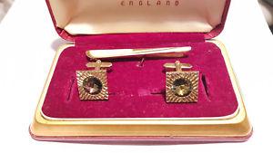 【送料無料】メンズアクセサリ― カフリンクスオリジナルボックスカフスボタンビンテージタイクリップstratton gold plated cuff links amp; tie clip in original box cufflinks vintage