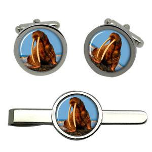 【送料無料】メンズアクセサリ― セイウチタイクリップセットwalrus round cufflink and tie clip set