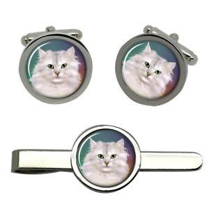 【送料無料】メンズアクセサリ― タイクリップセットwhite cat round cufflink and tie clip set