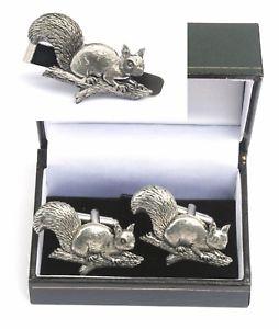 【送料無料】メンズアクセサリ― ブランチカフスボタンリスタイクリップバースライドセットsquirrel on a branch cufflinks amp; tie clip bar slide set shooting gift