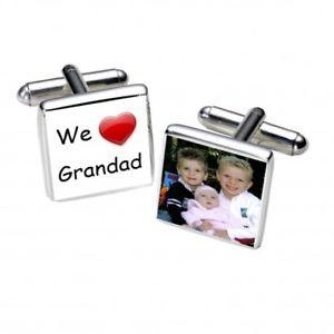 【送料無料】メンズアクセサリ― カフスボタンパーソナライズカフリンクスwe love grandad photo cufflinks personalised cufflinks