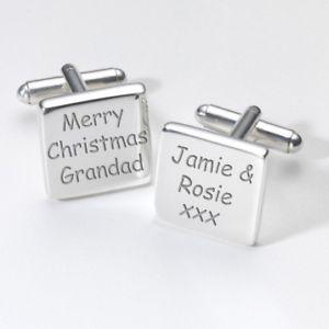 【送料無料】メンズアクセサリ― クリスマスカフスリンクmerry christmas grandad personalised cufflinks