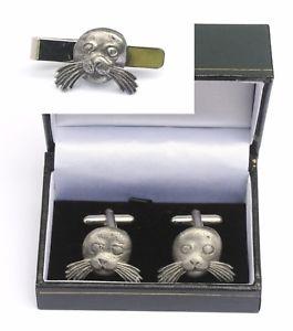 【送料無料】メンズアクセサリ― シーライオンカフスボタンタイクリップバースライドシーライフセットsea lion cufflinks amp; tie clip bar slide set sea life gift