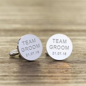 【送料無料】メンズアクセサリ― パーソナライズチームカフリンクスpersonalised team groom wedding cufflinks