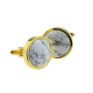 【送料無料】メンズアクセサリ― セットボックスカフスボタンhand set polished white marble in gold plated cufflinks in a leatherette box