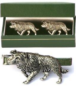 【送料無料】メンズアクセサリ― ボーダーコリーカフスボタンタイクリップバースライドメンズファームセットborder collie cufflinks amp; tie clip bar slide mens gift set farm sheepdog present