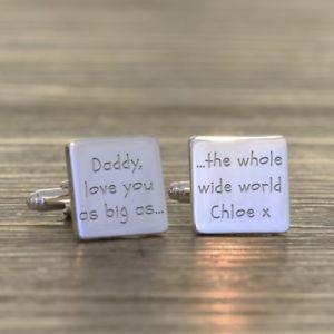 【送料無料】メンズアクセサリ― パーソナライズカフリンクスpersonalised daddy, love you cufflinks