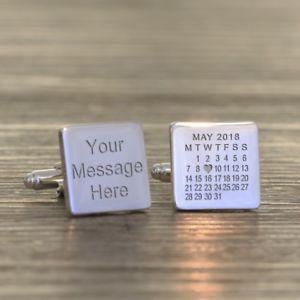 【送料無料】メンズアクセサリ― メッセージカフリンクスany date and message engraved cufflinks