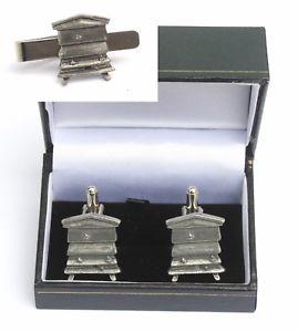 【送料無料】メンズアクセサリ― ビーハイブカフリンクスタイクリップバースライドキーパーセットbee hive cufflinks amp; tie clip bar slide set bee keeper gift