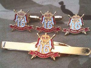 【送料無料】メンズアクセサリ― クイーンズロイヤルカフスボタンバッジネクタイクリップセット16th 5th queens royal lancers cufflinks, badge, tie clip military gift set