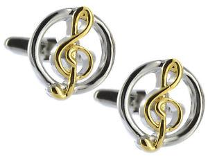 【送料無料】メンズアクセサリ― シルバーゴールドシートメンズカフスボタンダイレクトカフリンクスsilver amp; gold sheet music treble g clef mens gift cuff links by cufflinks direct