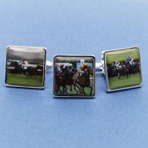 【送料無料】メンズアクセサリ― カフスリンクカフスリンクpersonalised horse racing cufflinks horse racing colours on cufflinks