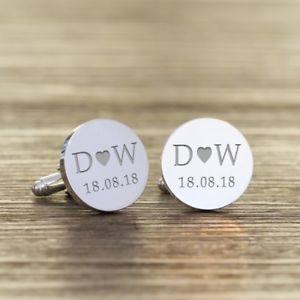 【送料無料】メンズアクセサリ― イニシャルカフリンクスengraved initials and date cufflinks