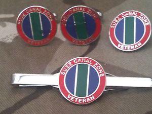 【送料無料】メンズアクセサリ― スエズベテランカフスボタンバッジネクタイクリップセットsuez canal zone veteran cufflinks, badge, tie clip gift set