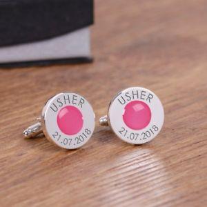 【送料無料】メンズアクセサリ― パーソナライズピンクカフリンクスpersonalised pink wedding cufflinks