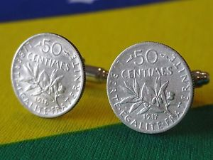 【送料無料】メンズアクセサリ― フランス50サンチームカフスリンクスターリングフランスジュエリー50french 50 centimes cufflinks coin sterling silver money france jewelry fifty