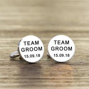 【送料無料】メンズアクセサリ― ホワイトカフスリンクチームwhite personalised team groom wedding cufflinks