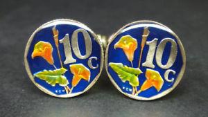 【送料無料】メンズアクセサリ― アフリカエナメルコインカフスボタンセントsouth africa enamelled coin cufflinks 10 cents 15mm