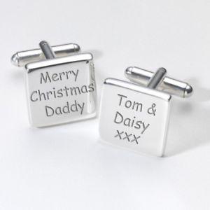 【送料無料】メンズアクセサリ― クリスマスカフスリンクmerry christmas daddy personalised cufflinks