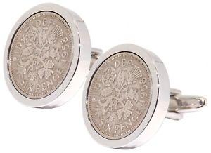 【送料無料】メンズアクセサリ― シルバープレートメンズプレゼントカフリンクスダイレクト1958 sixpence in silver plate mens 60 60th years birthday gift cufflinks direct