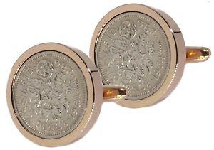 【送料無料】メンズアクセサリ― ローズゴールドメンズコインカフリンクスダイレクト1964 sixpence coins set in rose gold mens 54 years gift by cufflinks direct