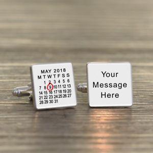 【送料無料】メンズアクセサリ― メッセージカフスリンクany date and message cufflinks