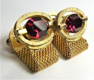 【送料無料】メンズアクセサリ― ビンテージメッシュカフリンクストイレラップvintage mesh wrap around cufflinks with deep red coloured rhinestones wc58