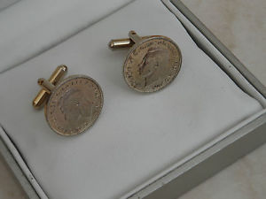 【送料無料】メンズアクセサリ― ビンテージゴールドトーンラウンドカフリンクスbeautiful vintage gold tone 1942 farthing round cufflinks