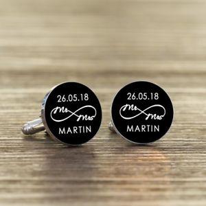 【送料無料】メンズアクセサリ― パーソナライズミセスカフリンクスpersonalised mr and mrs infinity wedding cufflinks