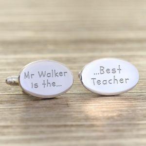 【送料無料】メンズアクセサリ― カフリンクスengraved best teacher cufflinks