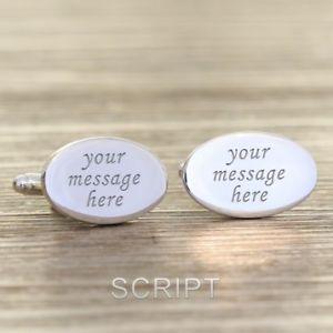 【送料無料】メンズアクセサリ― メッセージカフスボタンパーソナライズカフリンクスany message engraved cufflinks personalised oval cufflinks