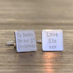 【送料無料】メンズアクセサリ― クリスマスパーソナライズカフリンクスto daddy on our 1st christmas personalised cufflinks