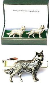 【送料無料】メンズアクセサリ― ジャーマンシェパードカフスボタンタイクリップバースライドメンズアルザスセットgerman shepherd cufflinks amp; tie clip bar slide mens set alsatian poilce dog gift