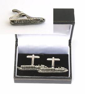 【送料無料】メンズアクセサリ― カフスボタンタイクリップバースライドセットbarge boat cufflinks amp; tie clip bar slide set boating gift