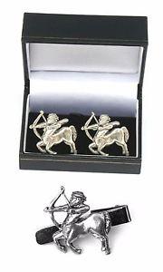 【送料無料】メンズアクセサリ― カフリンクスタイクリップバースライドホロスコープセットsagittarius the archer cufflinks amp; tie clip bar slide set horoscope gift