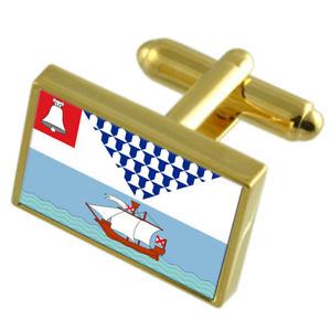 【送料無料】メンズアクセサリ― ベルファストイングランドゴールドフラッグカフスボタンボックスbelfast city england gold flag cufflinks engraved box